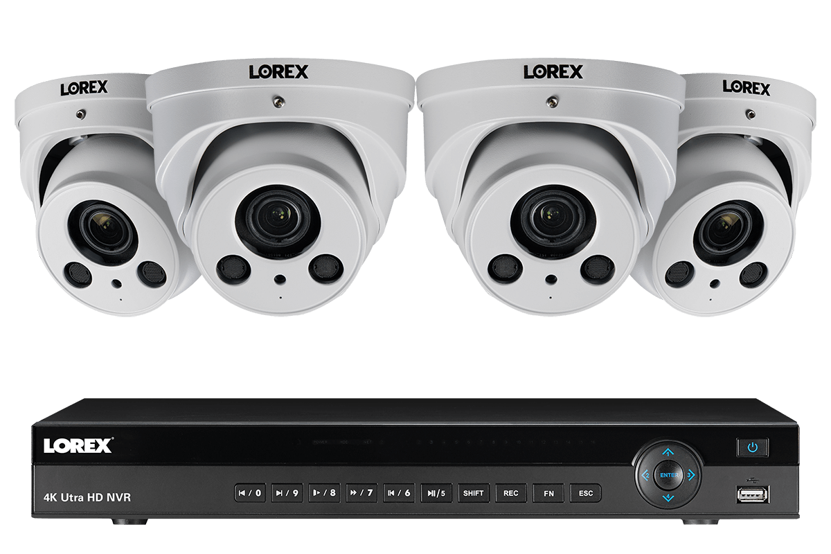 4K Ultra HD IP NVR System with 4 8MP Motorized Varifocal Zoom Lens White  Audio Dome Cameras, 250FT Night Vision