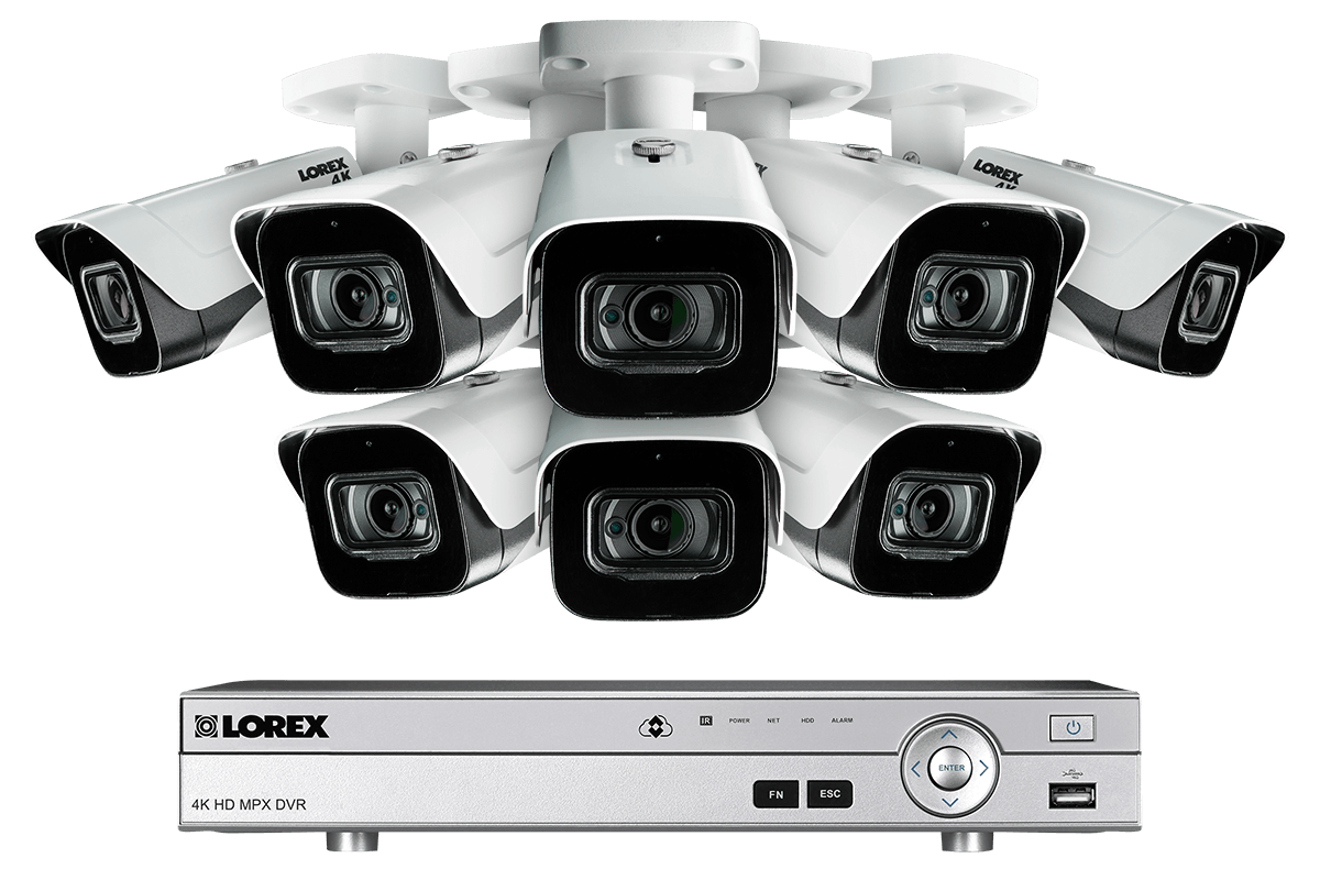 4K Ultra HD 8 Channel Security System with 8 Ultra HD 4K (8MP) Outdoor  Audio Metal Cameras, 150ft Color Night Vision