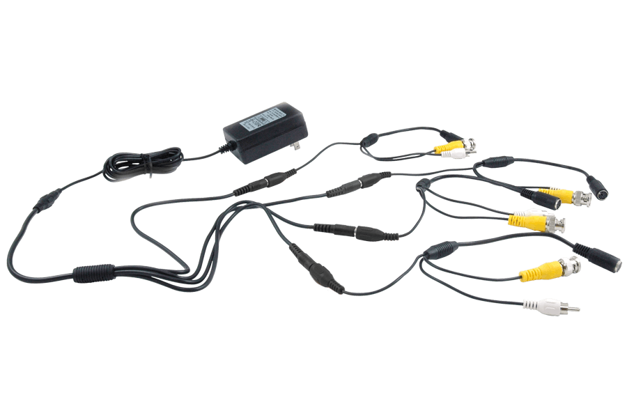 [QMVU_8575]  Power adapter accessory pack with 4 6-PIN DIN to BNC security adapter |  Lorex | Security Camera Wiring Accessories |  | Lorex