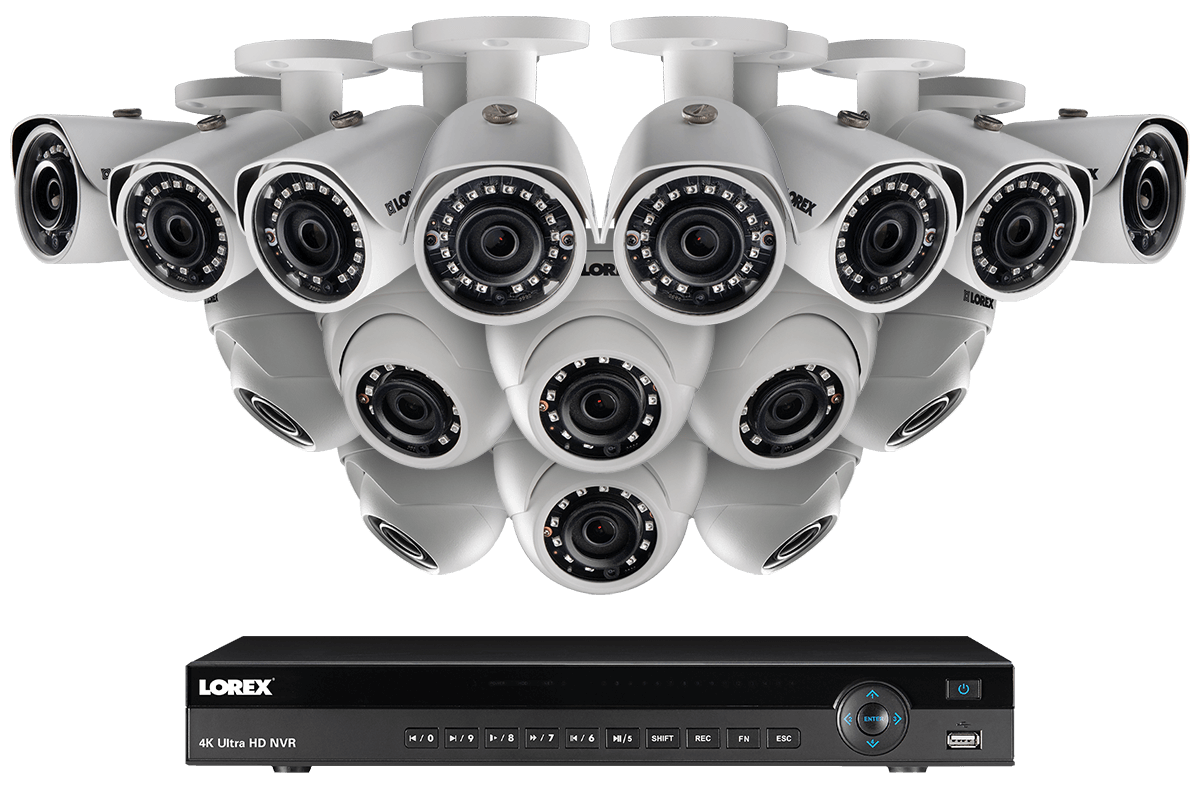 K ip security camera system with outdoor cameras and