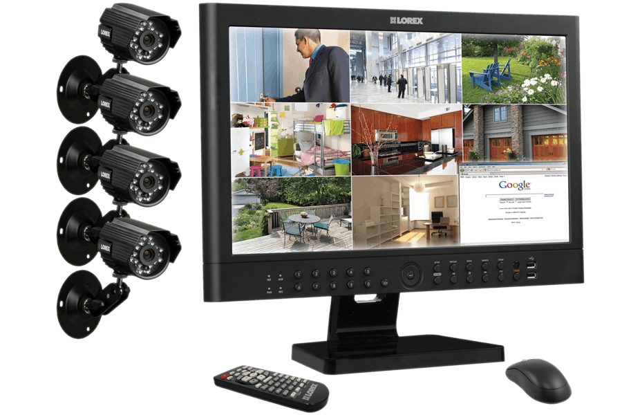 Security and surveillance camera system with 23 inch monitor ...