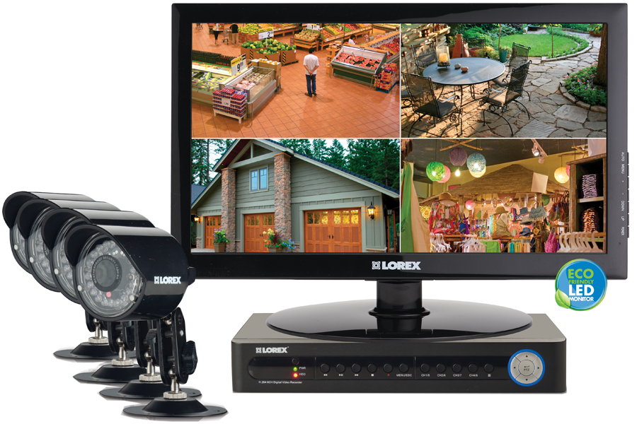 Complete security camera system with monitor ECO 8 channel