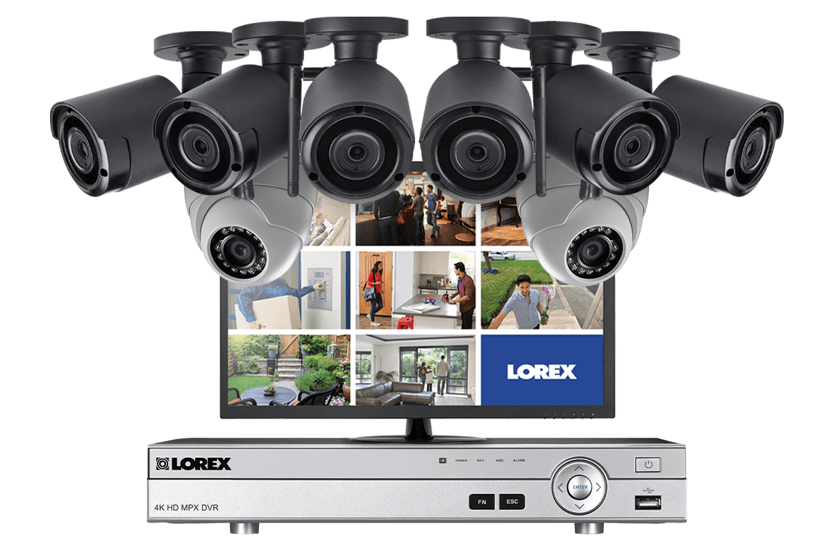 Security System with 6 Wireless Cameras, 2 Domes and Monitor