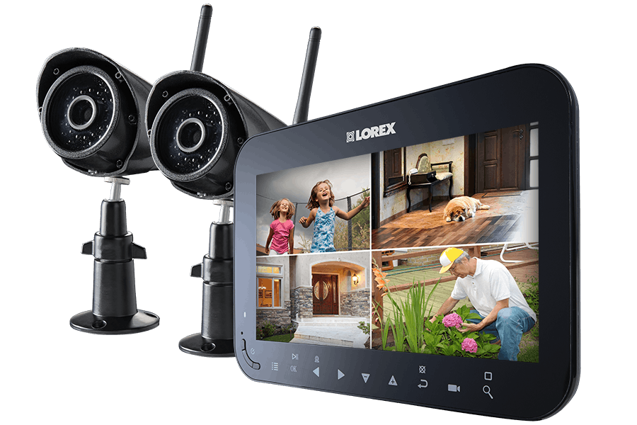 3c044c5155b Wireless Video Surveillance System with 7 inch Monitor and 2 or 4  Weather-Resistant Cameras