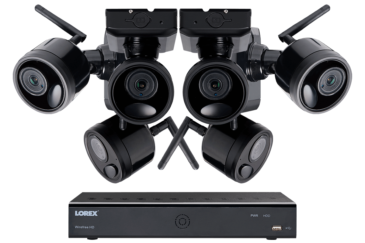 Delightful 1080p Outdoor Wireless Camera System, 6 Rechargeable Wire Free Battery  Powered Black Cameras, 95ft