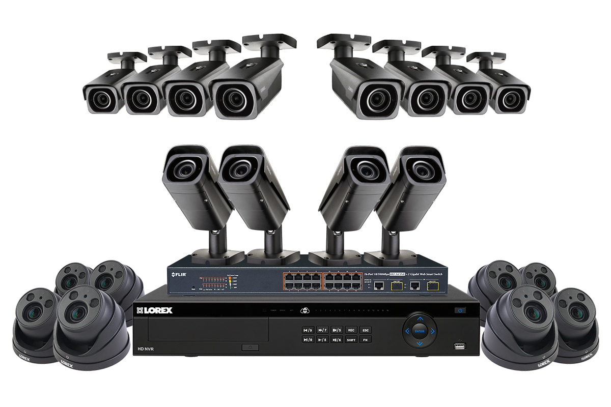 IP security camera system featuring twelve 4K motorized varifocal ...