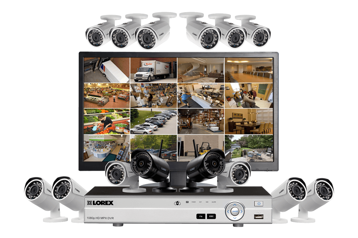 Complete security system with monitor 12 wired 1080p outdoor complete security system with monitor 12 wired 1080p outdoor cameras and 2 wireless 720p cameras solutioingenieria Images