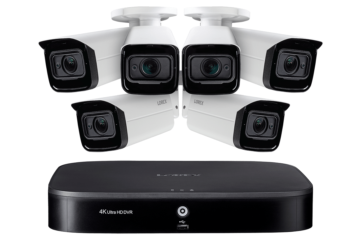 4k Ultra Hd Home Surveillance System With 6 Motorized Varifocal 4x Optical Zoom Lens Security Cameras Lorex