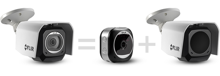 The outdoor housing locks around your FLIR FX camera (sold separately)