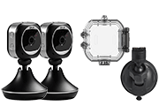WiFi Home Monitoring Camera with Waterproof Sports Case and Dash Mount Accessories