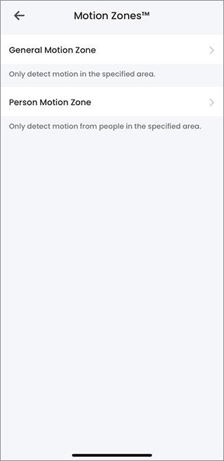 Motion Zones™ Settings